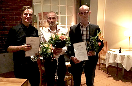 Erik Perjons and Ilia Bider (prize winners), Stockholm University, and Jonas Sjöström (nominee), Uppsala University. (Not in the picture – Christina Keller, chair of the prize committee). Photo: MARIA ÅKESSON